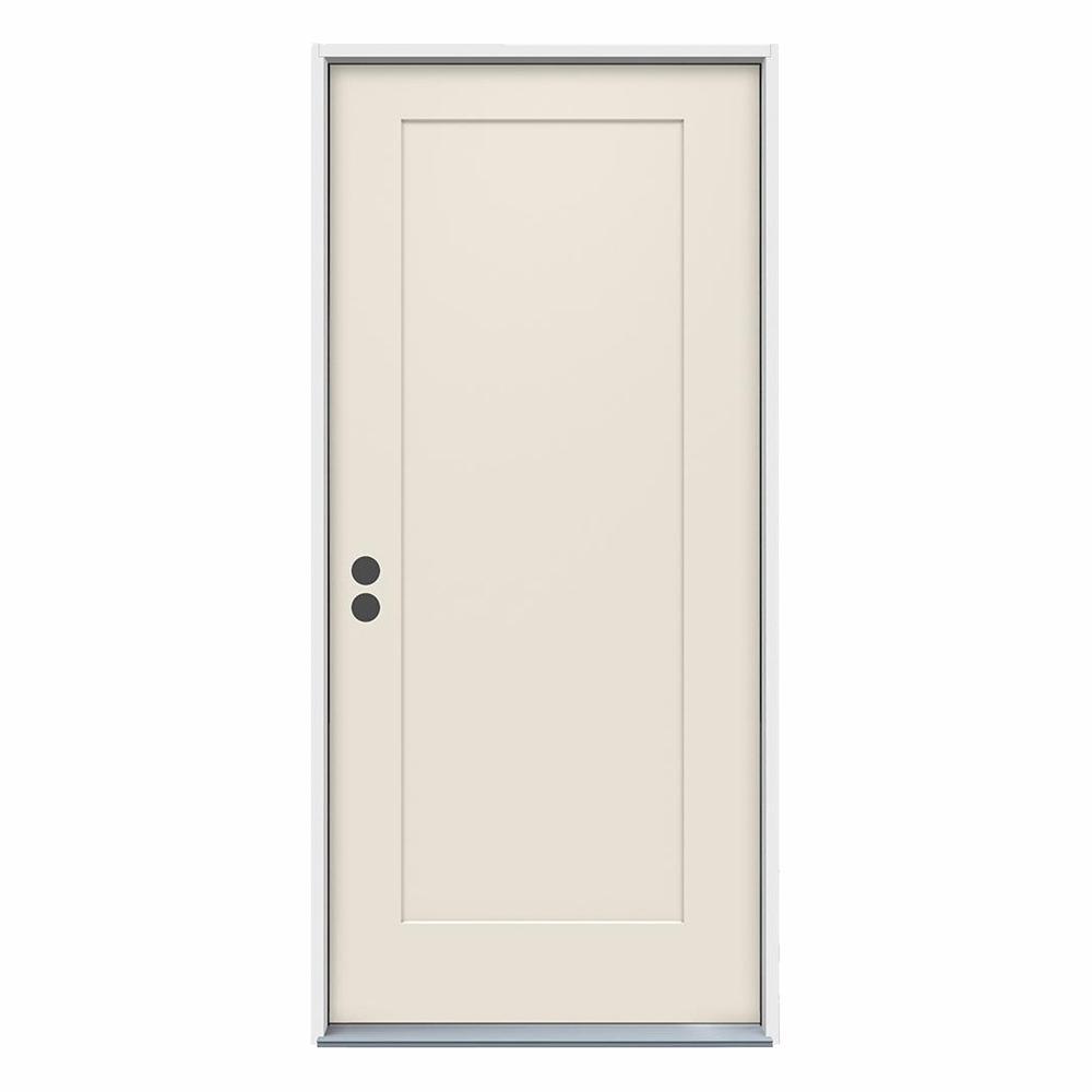 36 in. x 80 in. 1-Panel Craftsman Primed Steel Prehung Right-Hand Inswing Front Door
