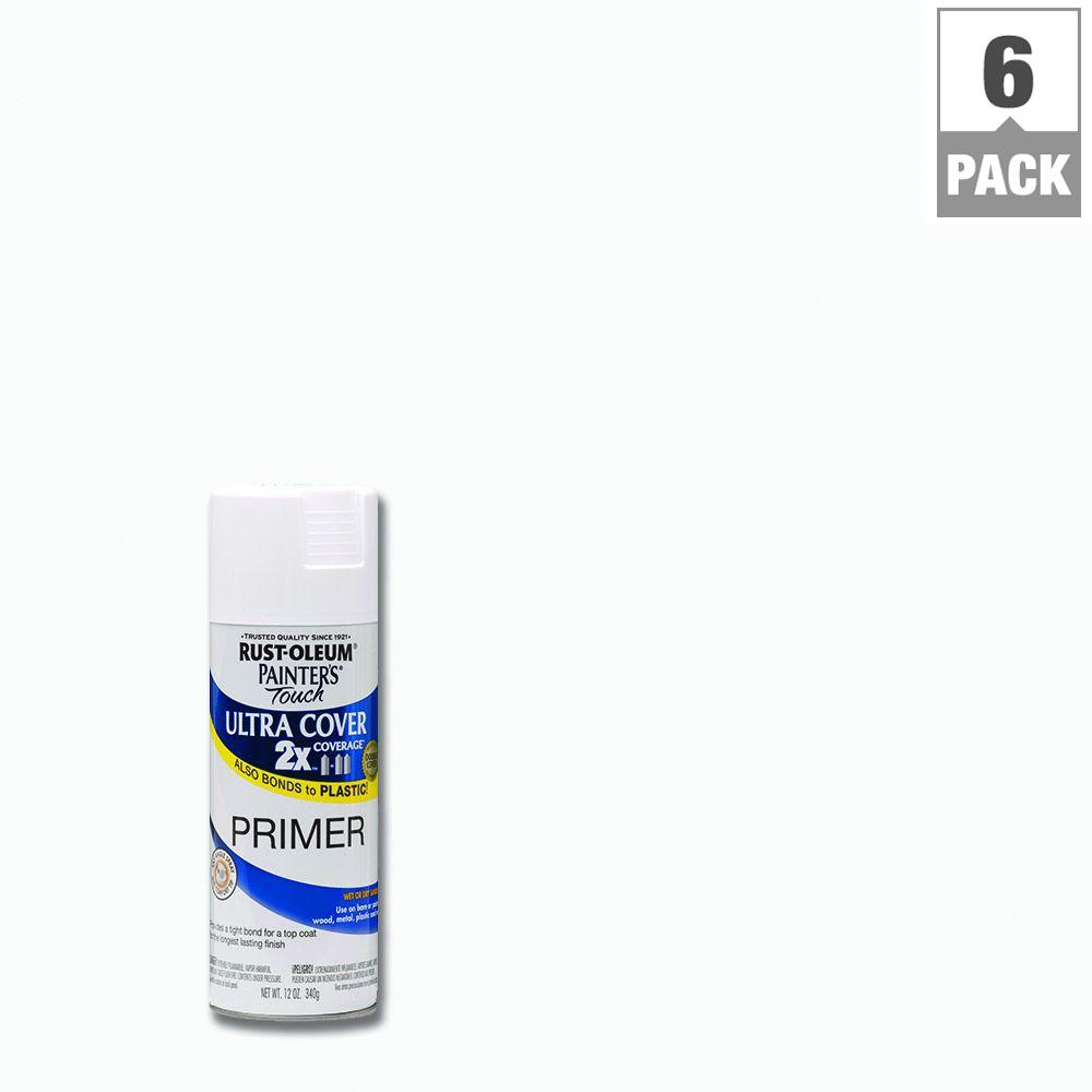 Rust-Oleum Painter's Touch 2X 12 oz. White Primer General Purpose Spray Paint (6-Pack)