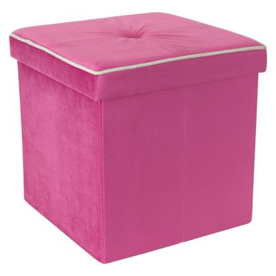 """15"""" x 15"""" x 15"""" Collapsible Velvet Storage Ottoman Trunk in Pink"""