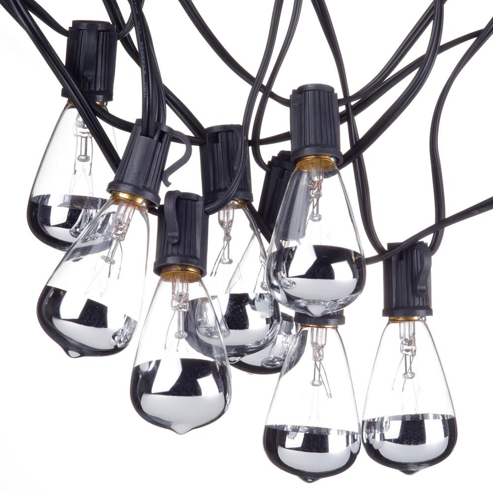 Globe Electric Bristol 10 Light Indoor Outdoor Ft Plug In String Designer Silver Tipped Vintage Edison Bulbs Included