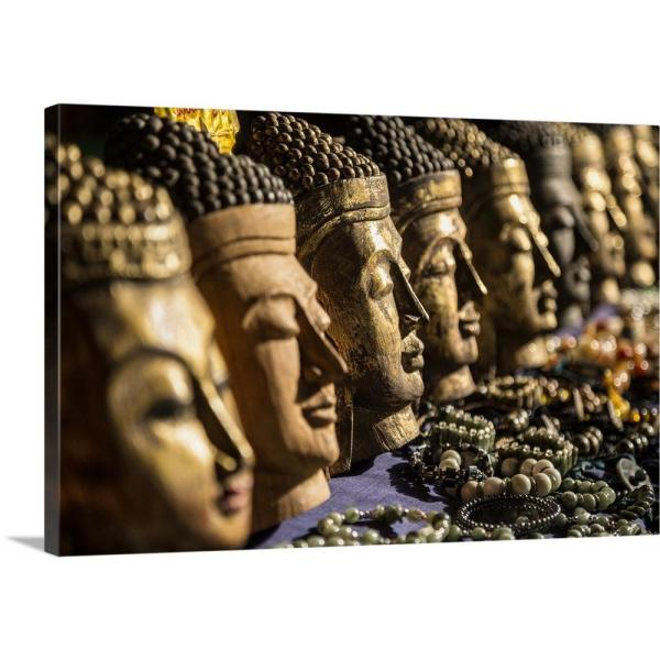 Sensational Wooden Buddha Heads In Inle Lake Burma By Scott Stulberg Canvas Wall Art Home Interior And Landscaping Eliaenasavecom