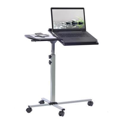 30 in. Rectangular Graphite/Chrome Laptop Desk with Adjustable Height Feature