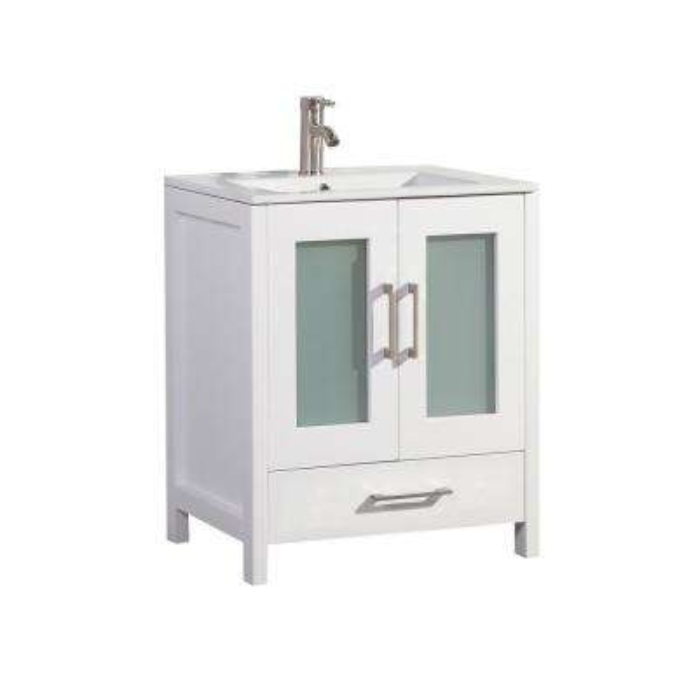 Arezzo 30 in. W x 18 in. D x 36 in. H Vanity in White with Porcelain Vanity Top in White with White Basin