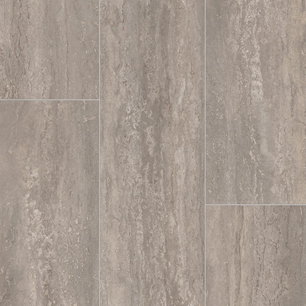 Rectangular Travertine Stone Grey 13.2 ft. Wide Residential Vinyl Sheet