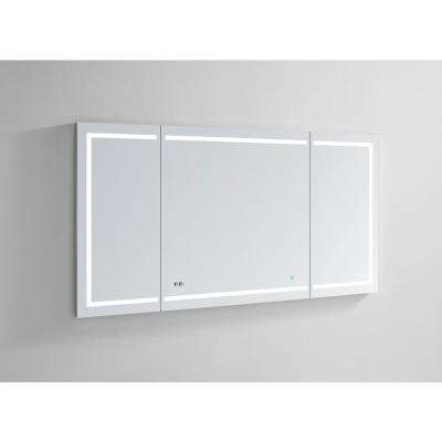 Signature Royale 60 in W x 30 in. H Recessed or Surface Mount Medicine Cabinet with Tri-View Doors and LED Lighting