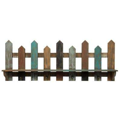 Wood Picket Fence Ledge 31.5 in. x 4.7 in. Decorative Shelf