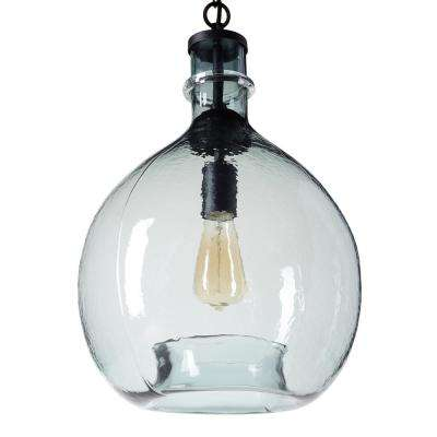 21 in. H and 13 in. W 1-Light Black Wavy Hammered Hand Blown Glass Pendant with Blue Glass Shade