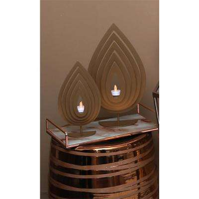 Gold Leaf Like Traditional Style Metal Tealight Large Candle Holder
