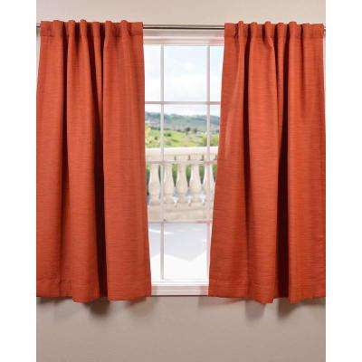 Semi-Opaque 63 in. L Polyester Curtain in Orange (Panel)