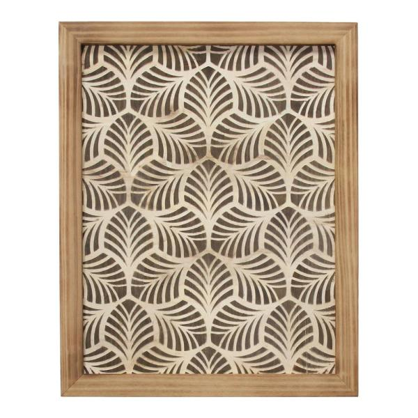 Stratton Home Decor Leaf Patterned Framed Wooden Wall Art S30869 The Home Depot