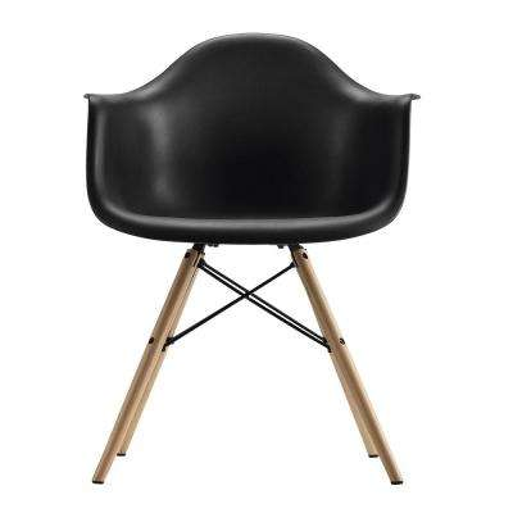 Harper Black Mid Century Modern Molded Arm Chair with Wood Leg