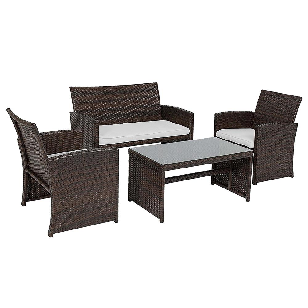 4 Piece Rattan Patio Furniture Set With White Cushions