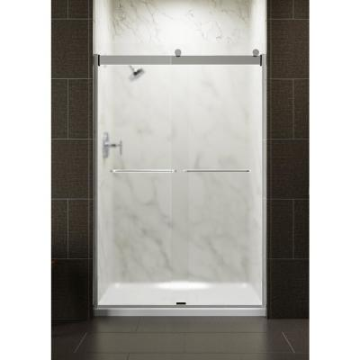 Levity 48 in. x 74 in. Semi-Frameless Sliding Shower Door in Silver with Frosted Glass and Handle