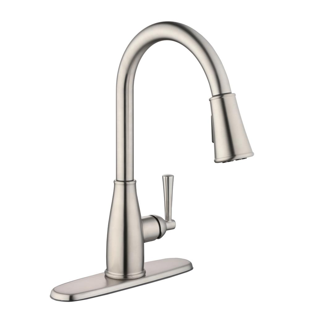 Glacier Bay Fairhurst Single-Handle Pull-Down Sprayer Kitchen Faucet with  TurboSpray and FastMount in Stainless Steel