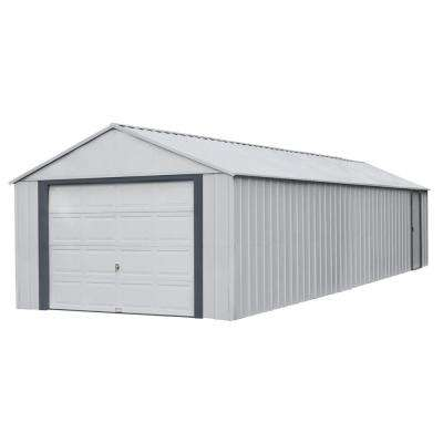 Murryhill 12 ft. W x 31 ft. D 2-Tone Gray Steel Garage and Storage Building with Side Door and High-Gable Roof