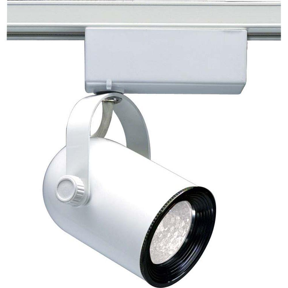 Glomar 1-Light MR16 12-Volt White Round Back Track Lighting Head