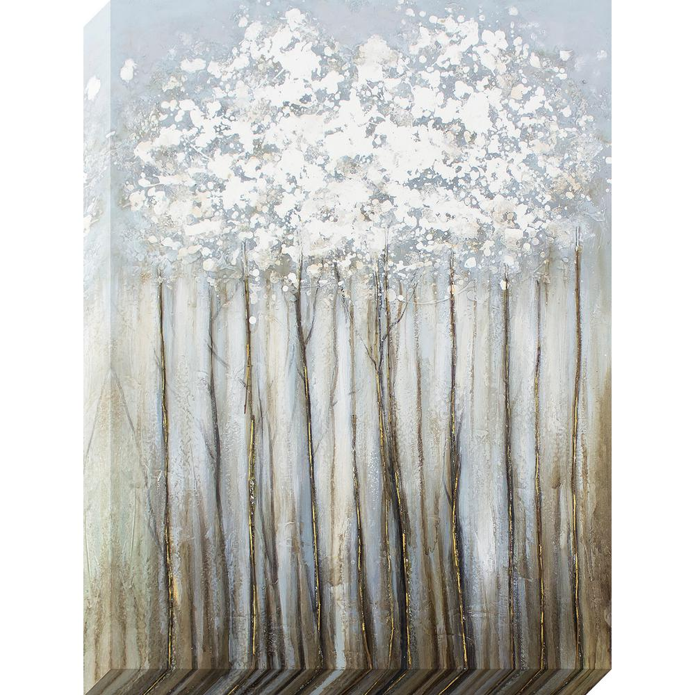 40 in. x 30 in. Silver Foliage Metallic Oil Painted Canvas