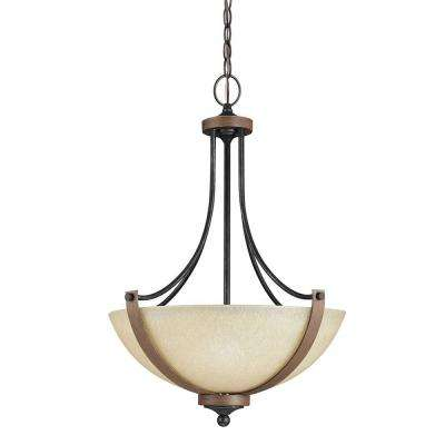 Corbeille 19 in. W. 3-Light Weathered Gray and Distressed Oak Pendant with Creme Parchment Glass