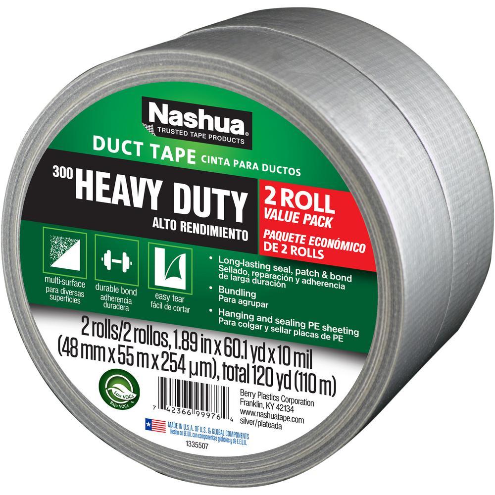 Nashua Tape 1.89 in. x 120 yd. 300 Heavy-Duty Duct Tape in Silver (2-Pack)