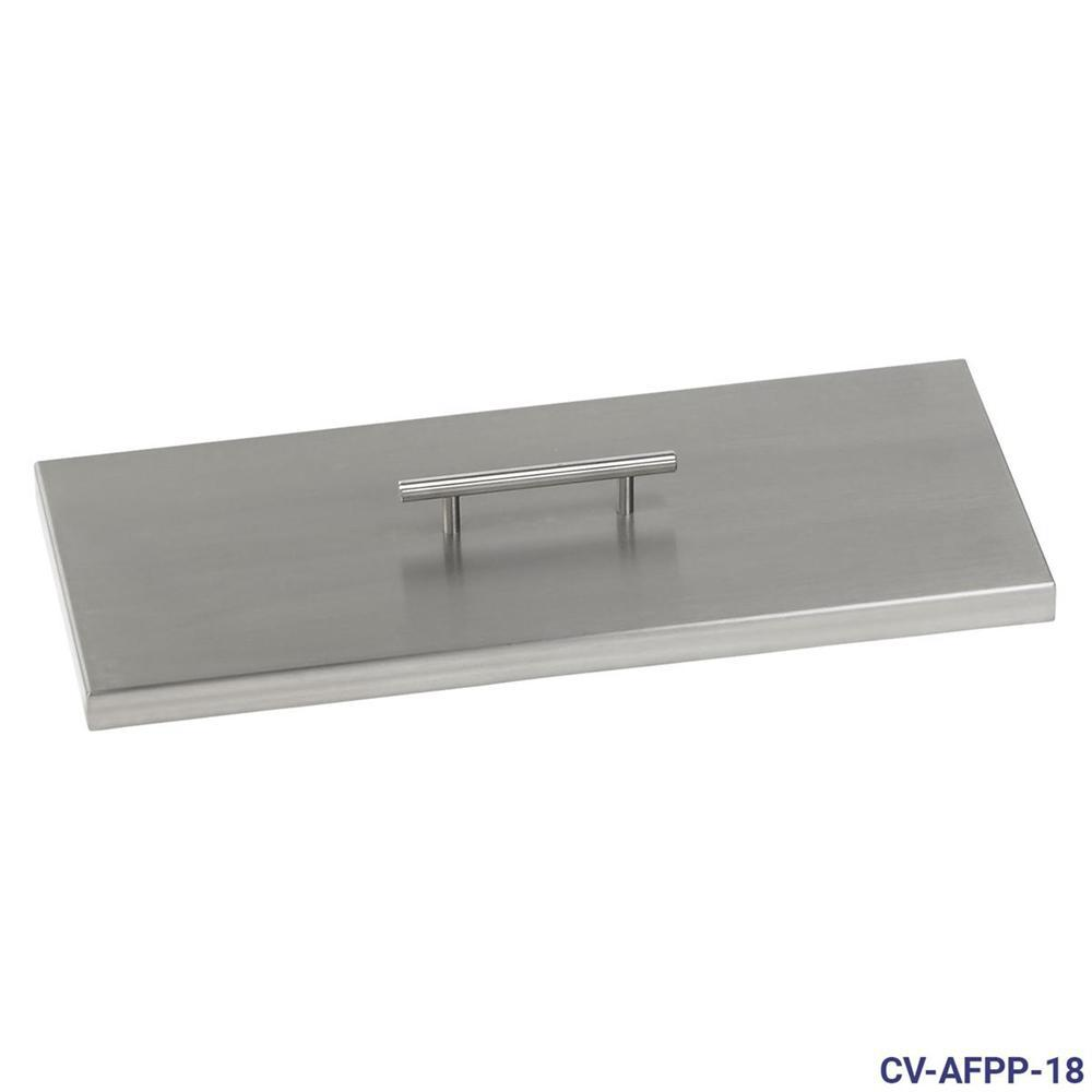 18 in. x 6 in. Stainless Steel Cover Rectangular Drop-In Fire