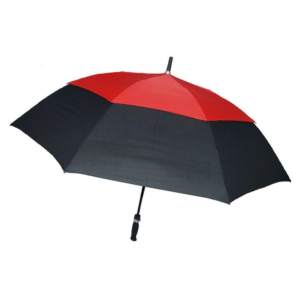 62 in. Arc Windguard Auto Open Golf Umbrella in Black/Red