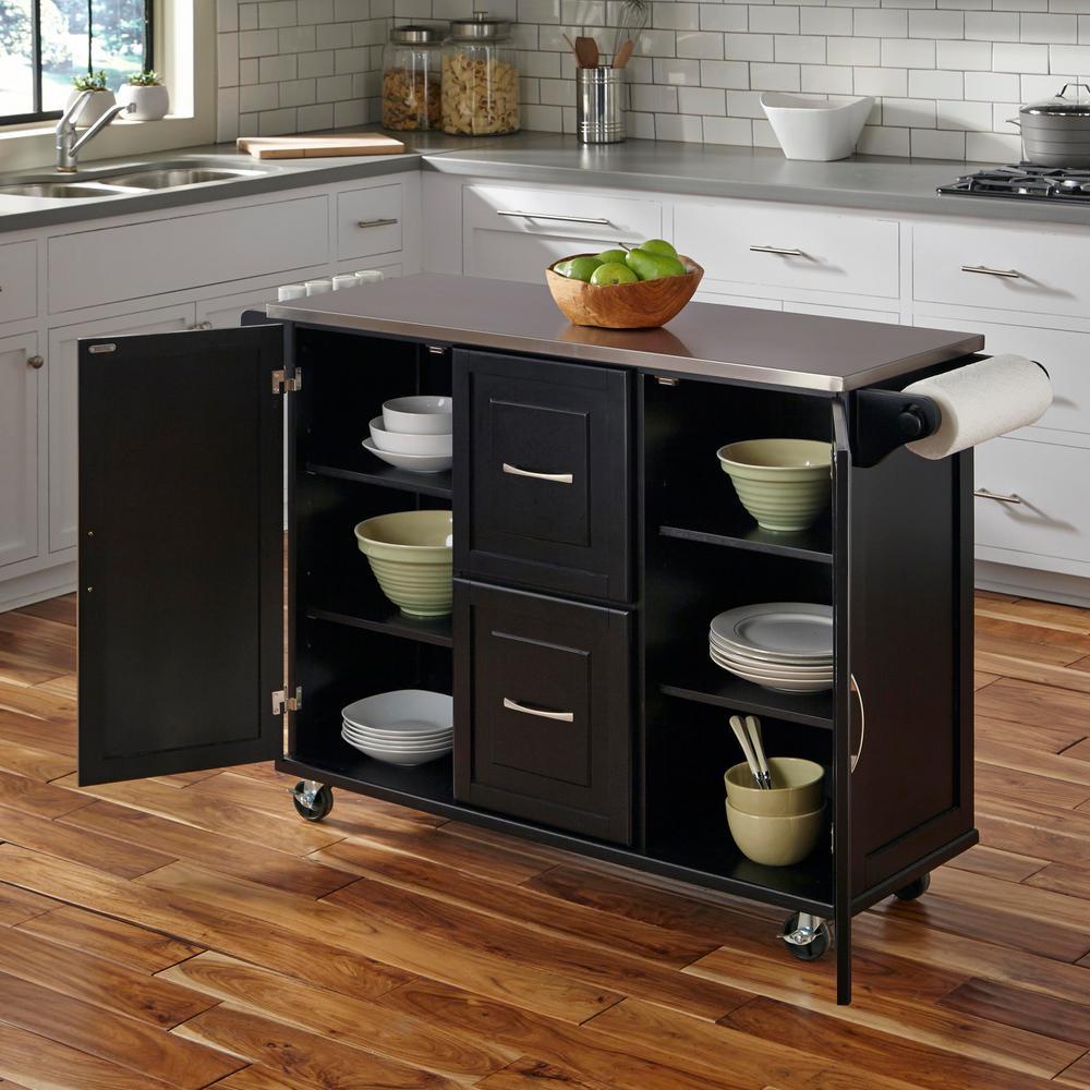2 home styles patriot black kitchen cart