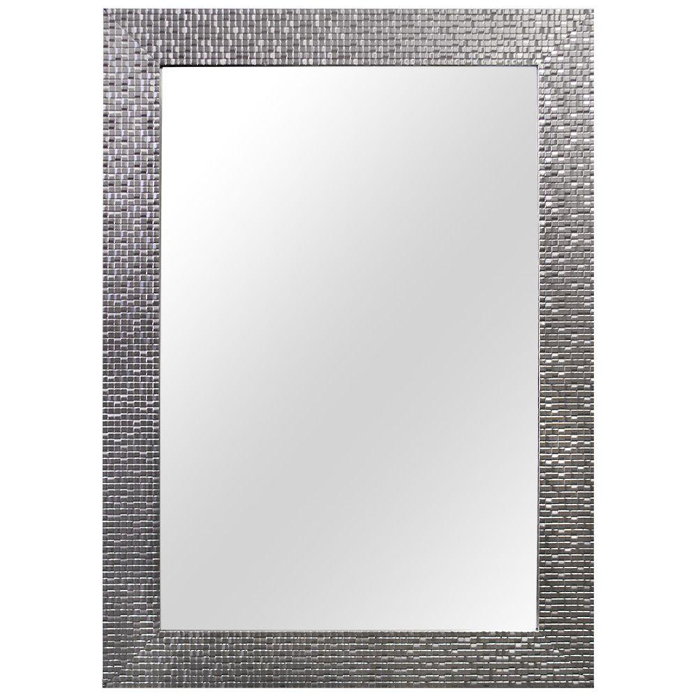 Home Decorators Collection 2435 In W X 3535 L Framed Fog Free Wall Mirror Silver 81159