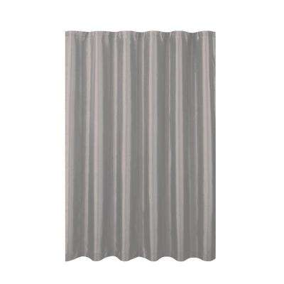 Jane Faux Silk 70 in. W x 72 in. L Shower Curtain with Metal Roller Hooks in Silver
