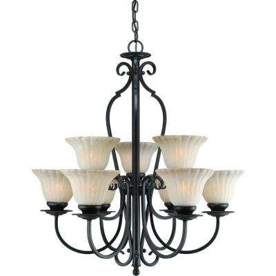 9-Light Bordeaux Bronze Chandelier with Umber Cloud Glass