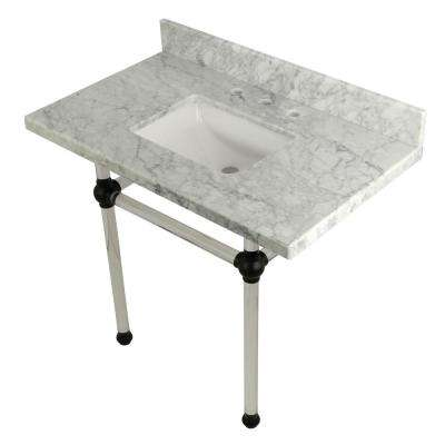 Square-Sink Washstand 36 in. Console Table in Carrara Marble with Acrylic Legs in Matte Black