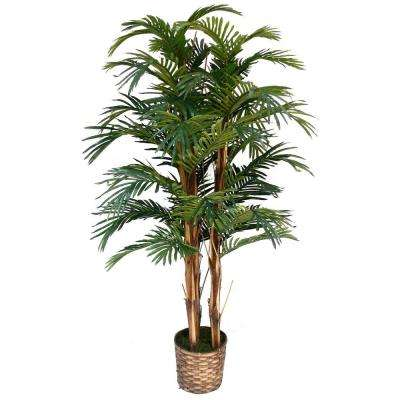 5 ft. Tall High End Realistic Silk Palm Tree with Wicker Basket Planter