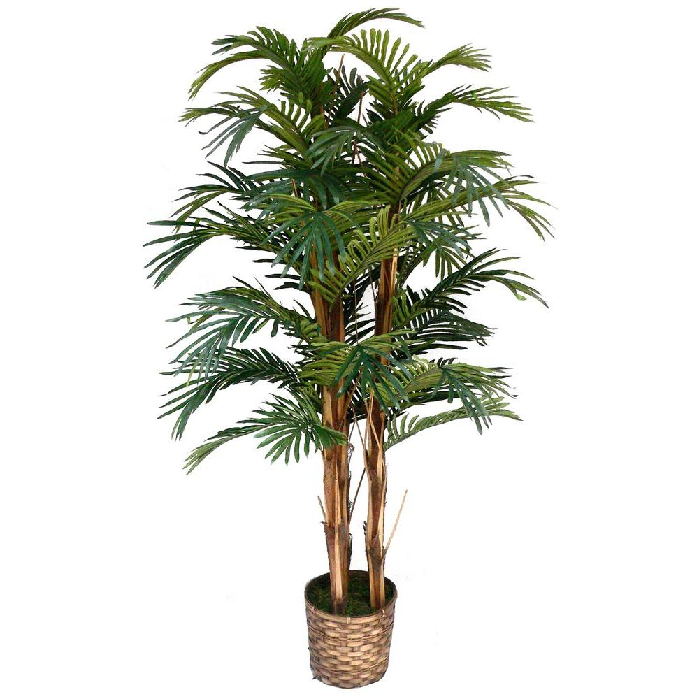 5 ft. Tall High End Realistic Silk Palm Tree with Wicker
