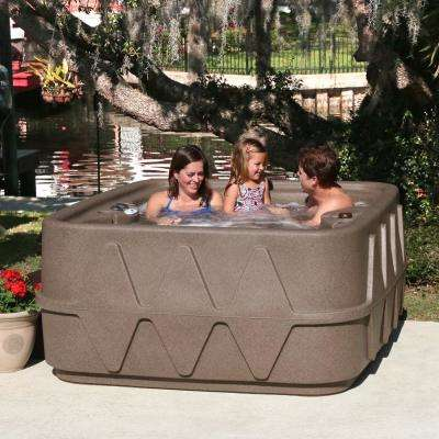 AR-400P 4-Person Spa with Ozone, Heater and 14 Jets in Stainless Steel and LED Waterfall in Brownstone