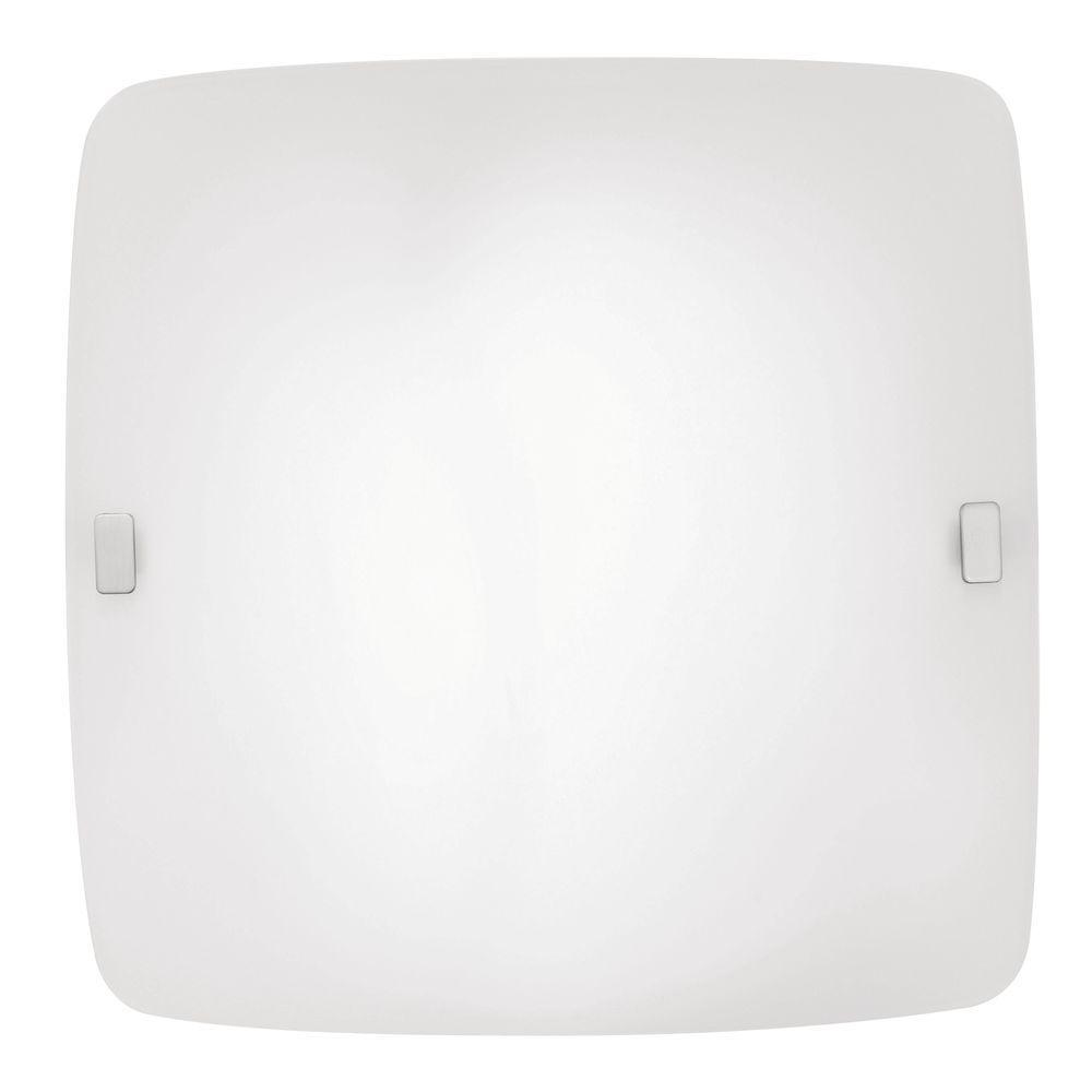 Borgo 1-Light Satin White Ceiling Flushmount with Matte Nickel Accents