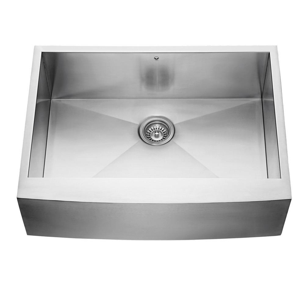 VIGO Farmhouse Apron Front Stainless Steel 30 in. Single Bowl ...