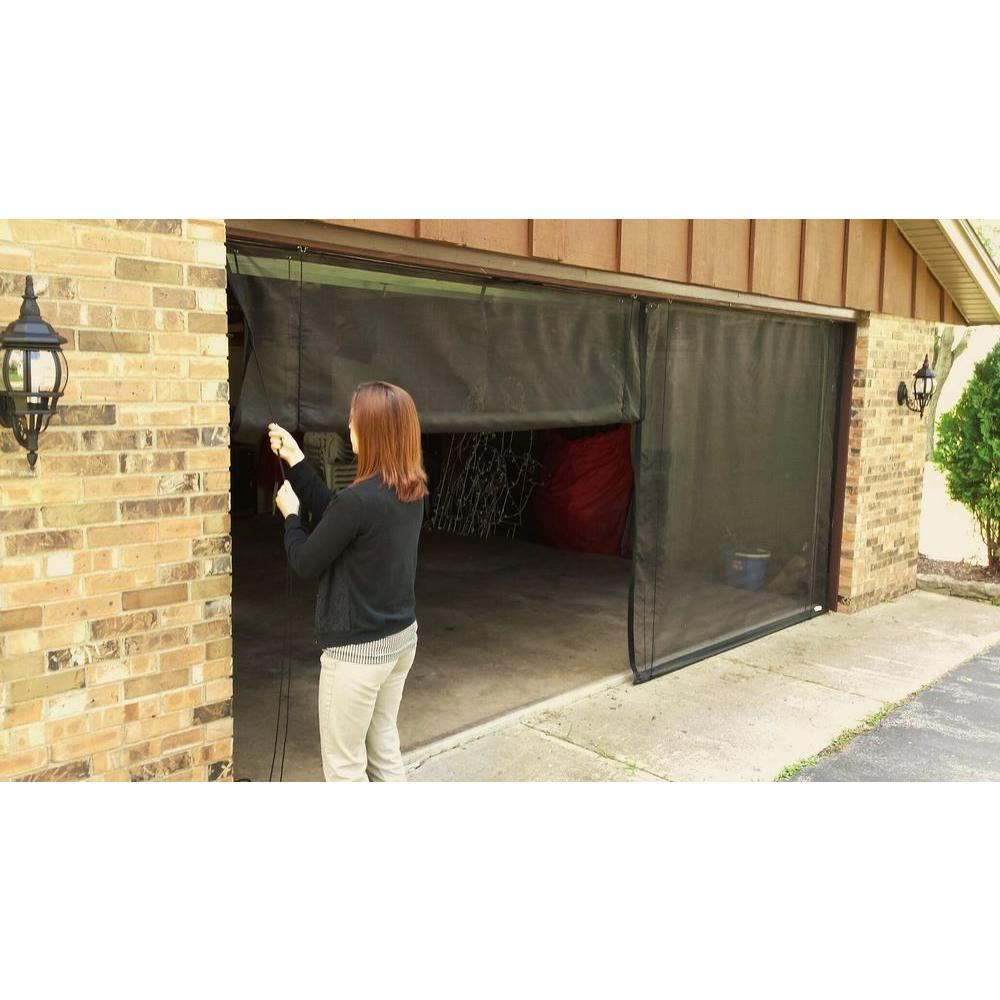 18 ft. x 7 ft. 3-Zipper Garage Door Screen with Rope/Pull