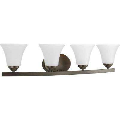 Adorn Collection 4-Light Antique Bronze Bathroom Vanity Light with Fluted Shades