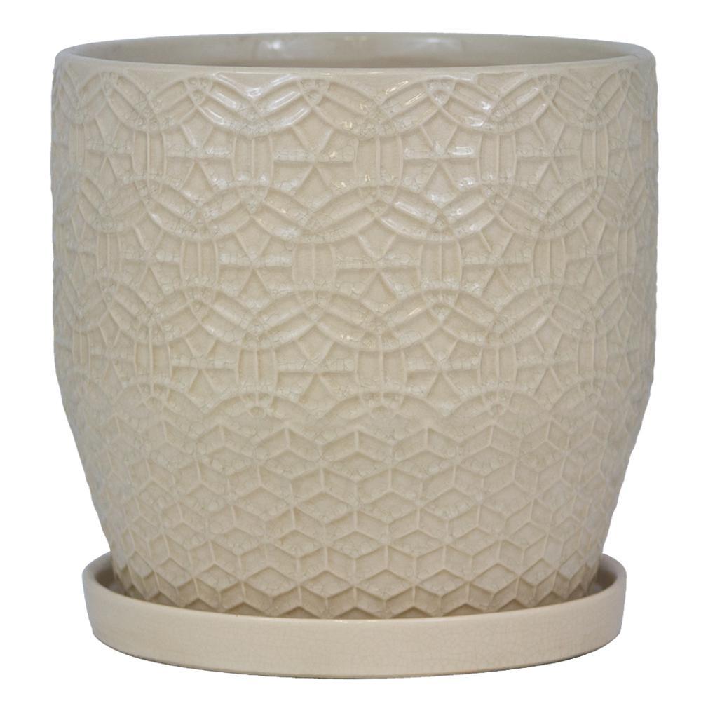 12 in. Dia Ivory Rivage Ceramic Planter
