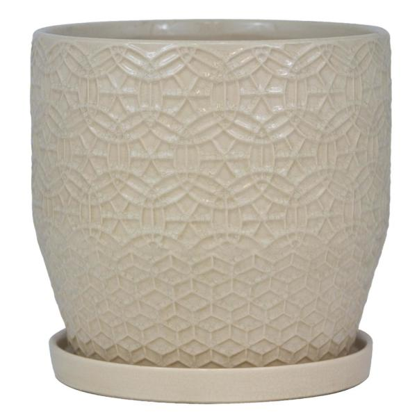 12 in. Dia Ivory Rivage Ceramic Planter