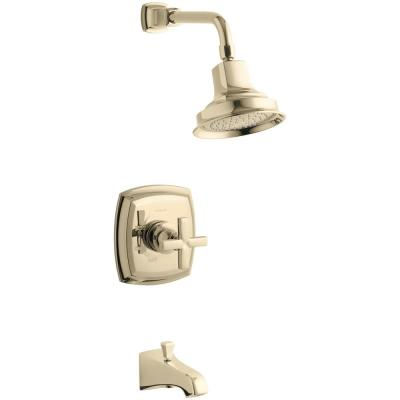 Margaux 1-Handle 1-Spray 2.5 GPM Tub and Shower Faucet with Cross Handle in Vibrant French Gold (Valve Not Included)