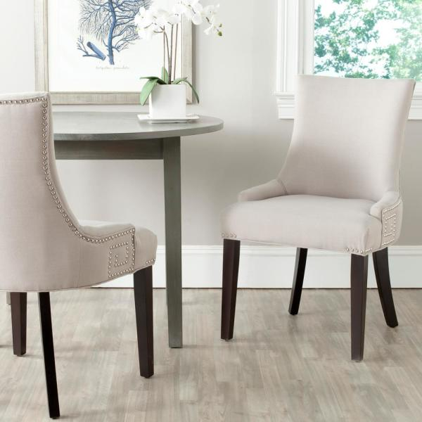 Safavieh Gretchen Taupe/Espresso Linen Side Chair (Set of 2)
