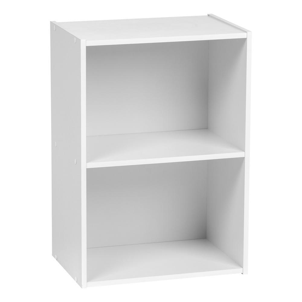 White 2-Tier Wood Storage Shelf