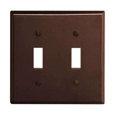 2-Gang 2-Toggle Standard Size Plastic Wall Plate, Brown