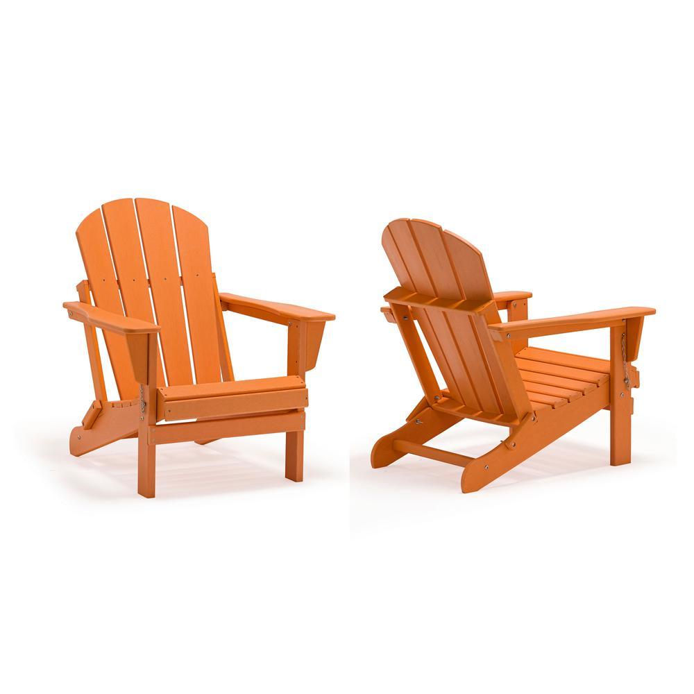 Addison Orange Outdoor Folding Plastic Adirondack Chair (Set of 2)