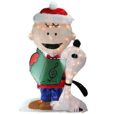 32 in. Christmas Pre-Lit Peanuts Charlie and Snoopy 2-D Outdoor Decoration