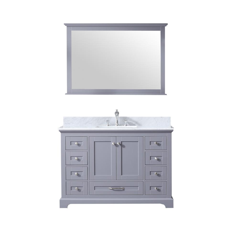Lexora Dukes 48 in. Single Bath Vanity in Dark Grey w/ White Carrera Marble Top w/ White Square Sink and 46 in. Mirror