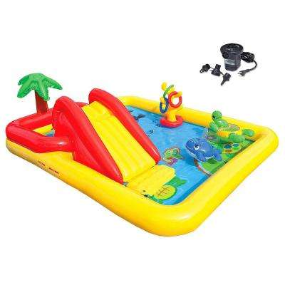 Rectangle 77 in. x 31 in. Deep Ocean Play Center Kids Inflatable Wading Pool Plus Quick Fill Air Pump