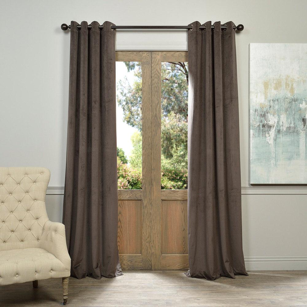 Exclusive Fabrics & Furnishings Blackout Signature Gunmetal Grey Grommet Blackout Velvet Curtain - 50 in. W x 96 in. L (1 Panel)