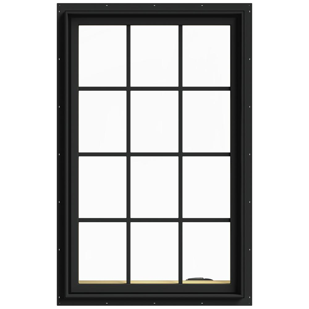 JELD-WEN 30 in. x 48 in. W-2500 Series Bronze Painted Clad Wood Right-Handed Casement Window with Colonial Grids/Grilles