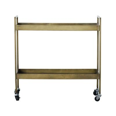 Collected Notions Antique Brass Metal 2-Tier Bar Cart on Caster Wheels